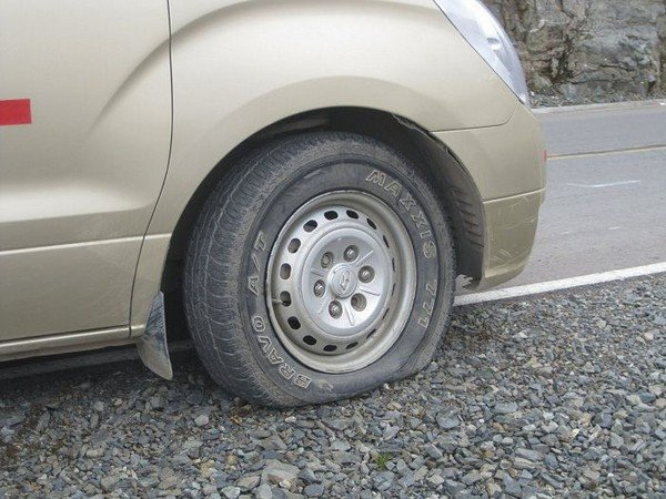 Tyre burst danger in highway