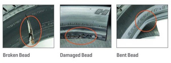 tyre bead damages