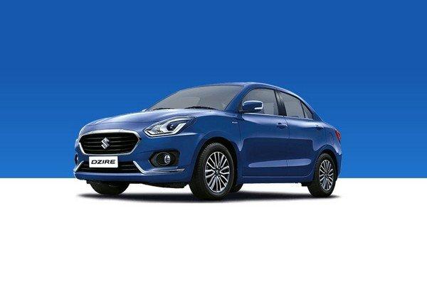 Maruti Suzuki Dzire 2018 blue family car