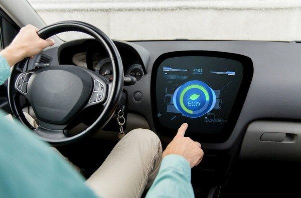 Ecodriving display, behind-the-wheel view