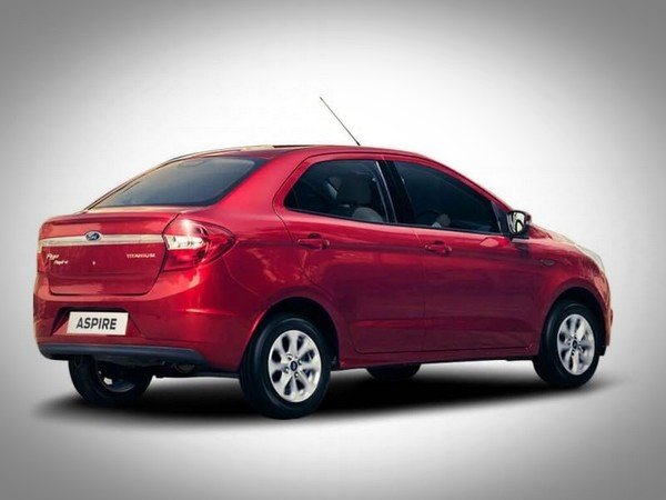 Ford Aspire in ruby red color