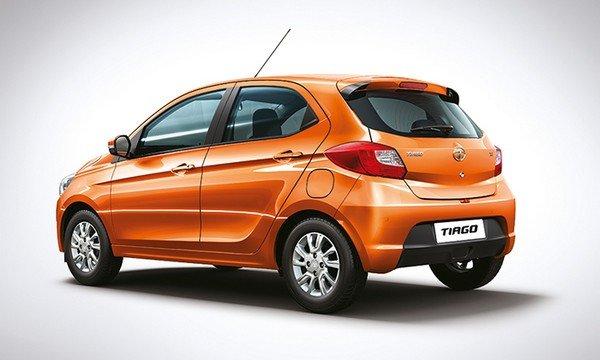 Tata Tiago rear and side look orange
