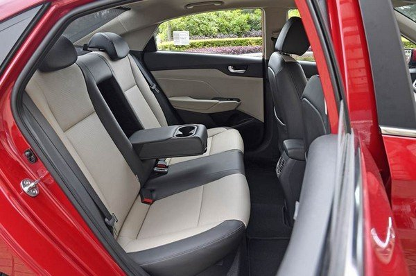 Hyundai Verna's rear seat row with unfolded cupholder