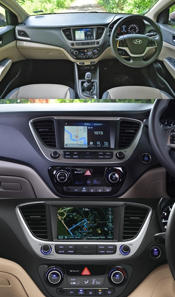 The centre console of the Hyundai Verna 2018