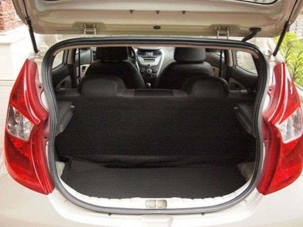 Hyundai Eon's boot space, open boot lid