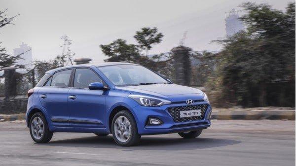 Hyundai Elite i20 blue colour on the road
