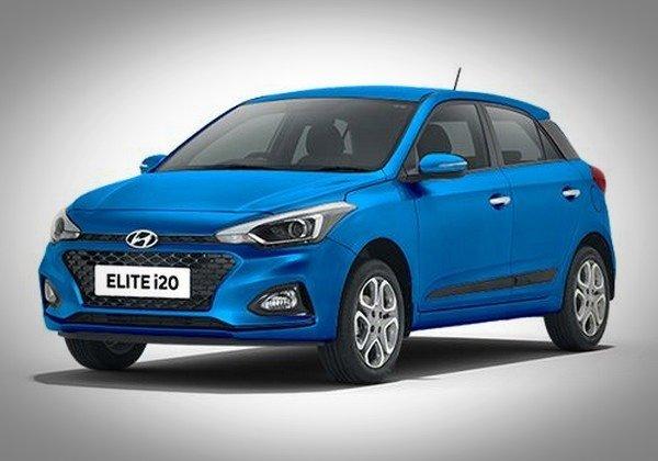 Hyundai i20 blue left angle
