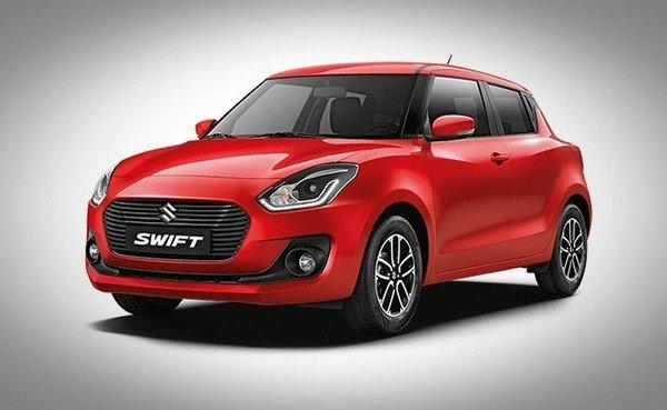 Maruti Suzuki Swift front angle view red color