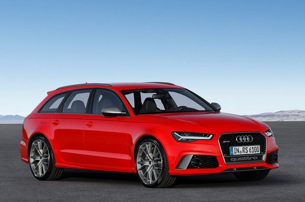 Audi RS6 Performance red color front and side view