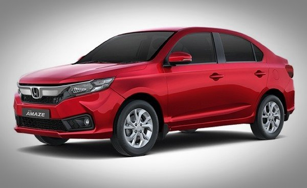 Honda Amaze 2018 angle look red color