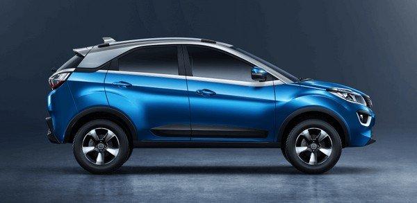 Tata Nexon 2018 blue color side look