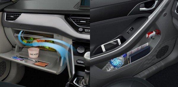 Tata Nexon 2018 interior glove box and window storage space