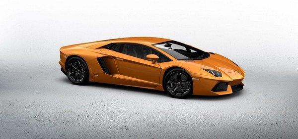 Lamborghini Aventador orange color angle view