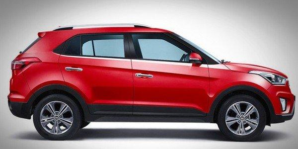 Hyundai Creta side view red color