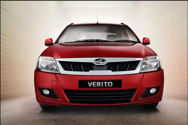 Red Mahindra verito's direct front view