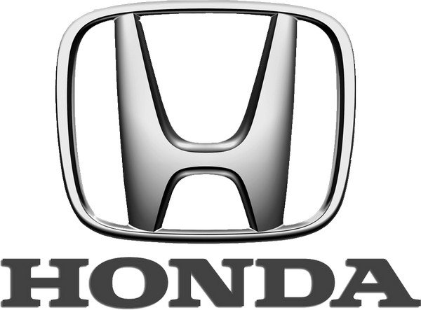 Honda silver logo with name in dark grey