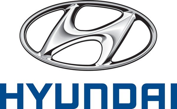 Hyundai silver logo with name in blue