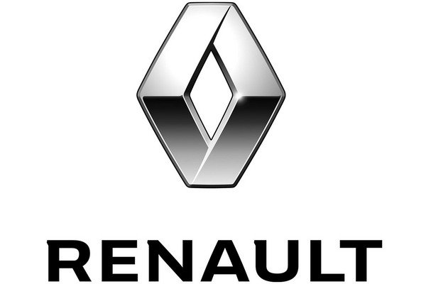 Renault silver logo with name in black