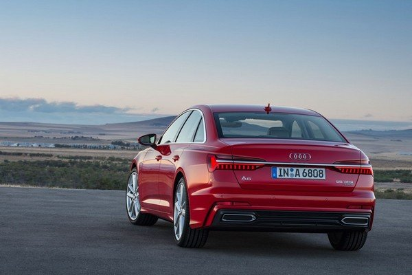 Audi A6L red color rear on the road