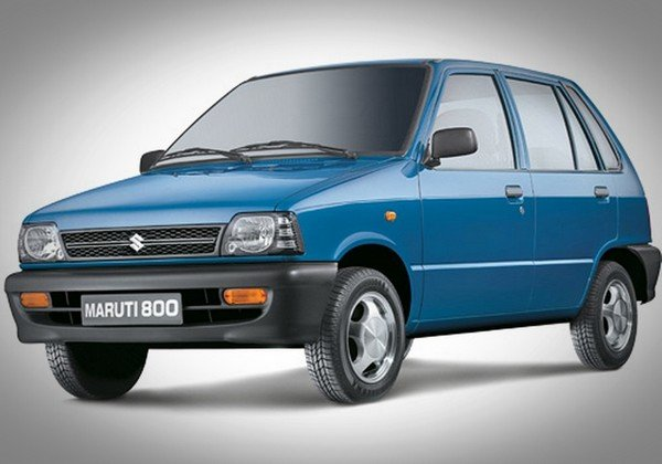 Maruti 800 dark blue color from front to back