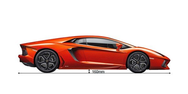 A red supercar looking from the side with ground clearance measure