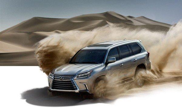 lexus LX on desert front view