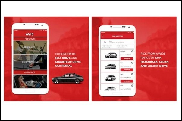 2 image of mobile app of booking car of avis
