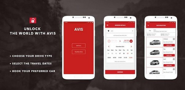 3 images of mobile app of booking car of avis