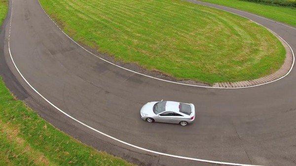 a car takes a corner