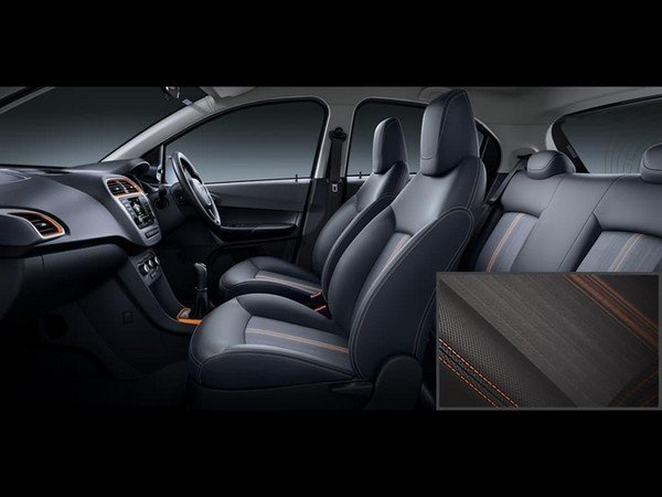 Tata Tiago NRG interior seat with orange highlight
