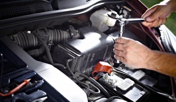 A car being serviced