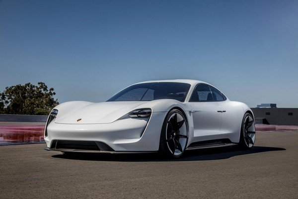 Taycan electric sports car white colour angular look