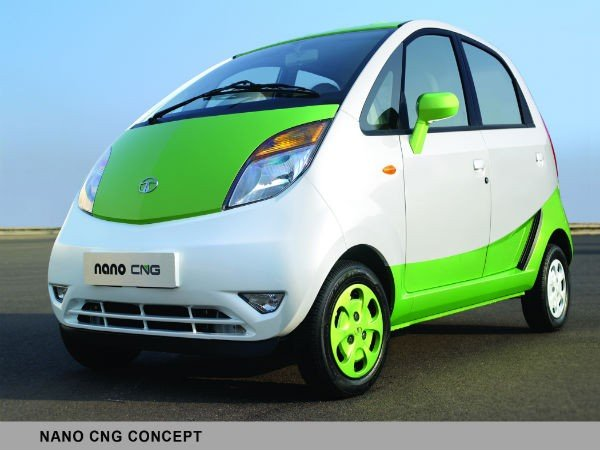 White and green Tata Nano CNG side view