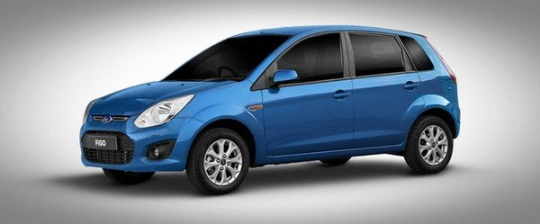 Blue Ford Figo front-side view