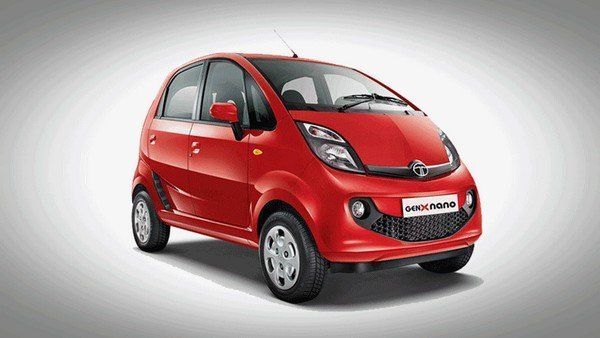 Red Tata Nano GenX front-side view
