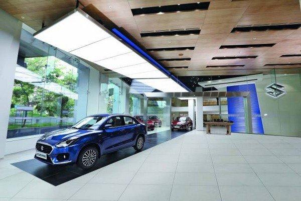 Maruti Suzuki car blue colour angular look in the facility