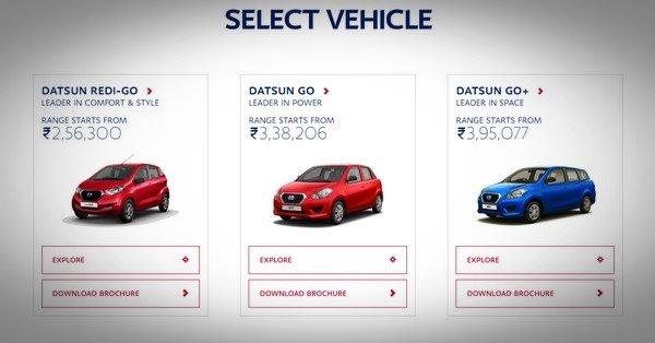 Datsun Redi-Go, Datsun Go and Datsun Go+ on Datsun website