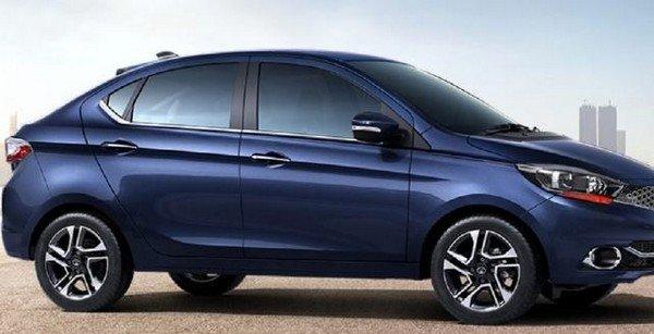 2018 Tata Tigor facelift dark blue colour body profile