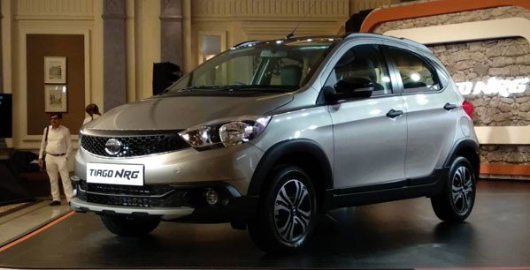 Tata Tiago NRG in showroom silver color