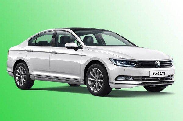 Volkswagen Passat side look green color background