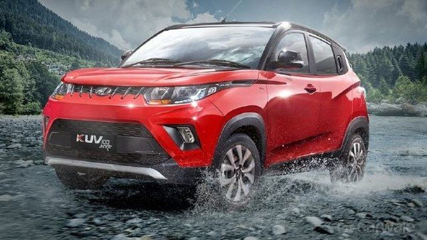 Mahindra KUV100 NXT, red colour, right front side