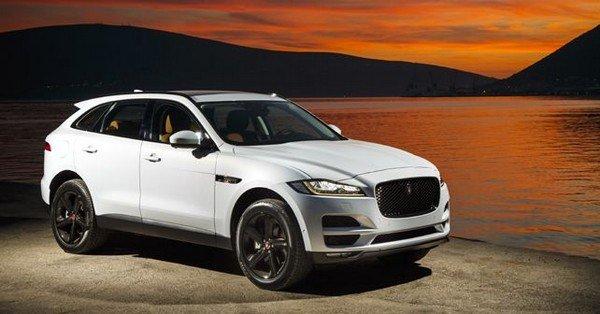 white color Jaguar F-Pace parking on riverside