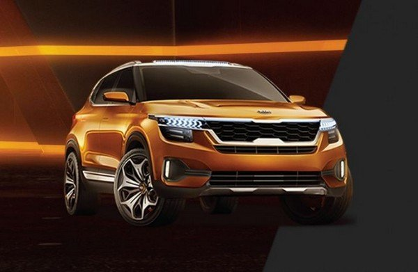 Kia SP-based SUV front face orange color