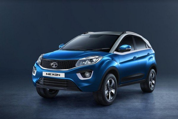 Tata nexon blue color front face plain background