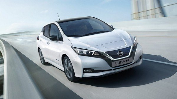 Nissan Leaf  grey color front face on road