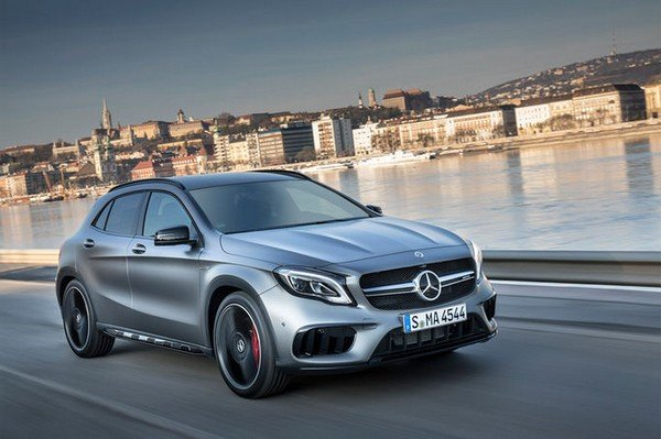 Mercedes Benz GLA Class silver front look on road