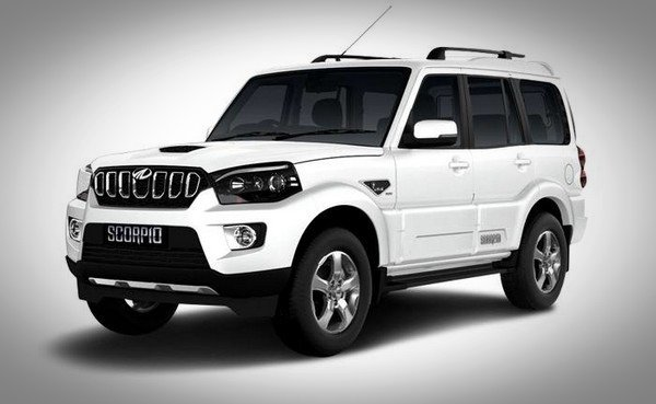 Mahindra Scorpio white front and side look