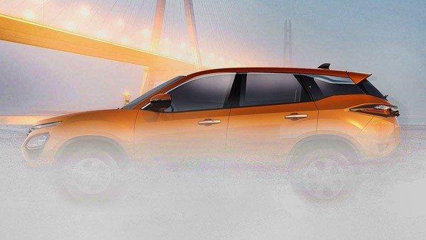Tata Harrier side look orange car