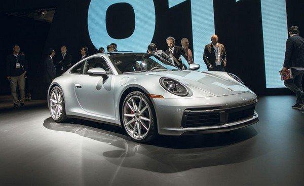 Porsche 911 silver color at LA Auto show