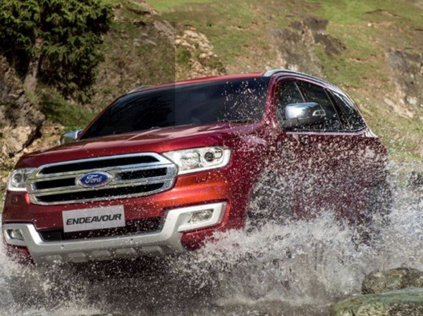 2018 Ford Endeavour, red colour, front angular look
